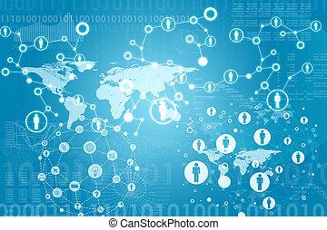 wereldkaart, met, contacten, en, figuren