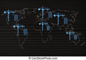 wereldkaart, met, kranen, en, gebouw, projecten, overal