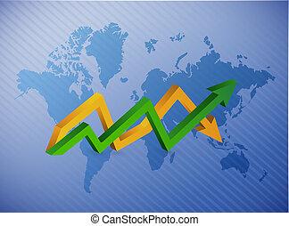 wereldkaart, op en neer, zakelijk, richtingwijzer, tabel