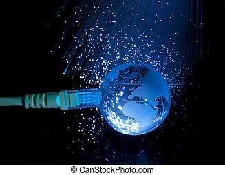 wereldkaart, technologie, stijl, tegen, vezel optisch,...
