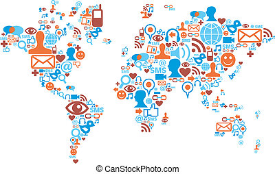 wereldkaart, vorm, gemaakt, met, sociaal, media, iconen