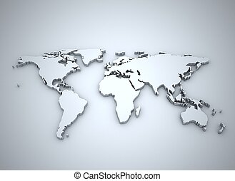 wereldkaart, zilver, 3d, illustratie