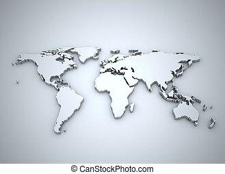wereldkaart, zilver, illustratie, 3d