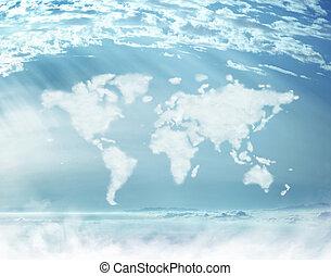wereldwijd, afbeelding, dicht, vorm, conceptueel, wolken