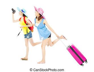 wereldwijd, backpackers, reizen, twee, vrouwlijk, vrolijke