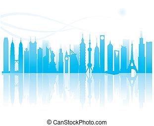 wereldwijd, bekende & bijzondere plaatsen, silhouette
