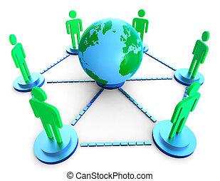 wereldwijd, communicatie, optredens, computer net, en, kletsende