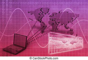 wereldwijd, computer, connectivity