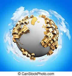 wereldwijd, concept, recycling, beschadigen, milieu, expeditie