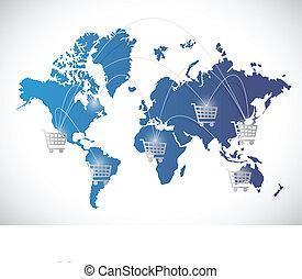 wereldwijd, concept, shoppen , illustratie