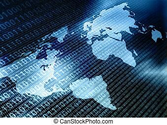 wereldwijd, data, verwisselen