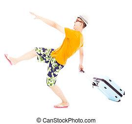 wereldwijd, gekke , backpacker, reizen, jonge, bagage, het trekken