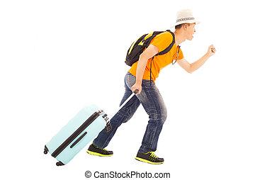 wereldwijd, gelukkig, reizen, jonge, backpacker, rennende