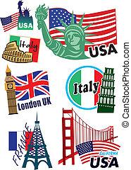 wereldwijd, land, sticker, set, etiket