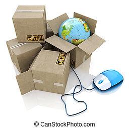 wereldwijd, logistiek, online