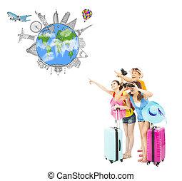 wereldwijd, mensen, bekende & bijzondere plaatsen, nakomeling kijkend, vrolijke