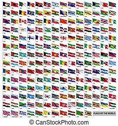 wereldwijd, nationale, golvend, vlaggen, set