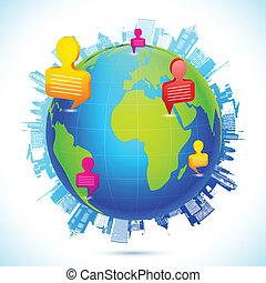 wereldwijd, networking, menselijk