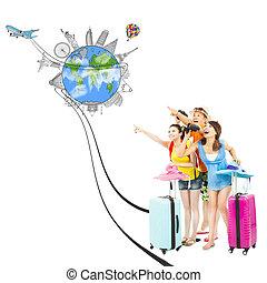 wereldwijd, richting, mensen, punt, jonge, oriëntatiepunt, vrolijke