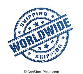 wereldwijd, rubber, expeditie, illustratie, postzegel