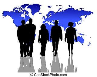 wereldwijd, silhouettes, zakenlui