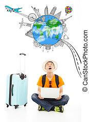 wereldwijd, verrassend, reizen, horloge, op, oriëntatiepunt, reiziger