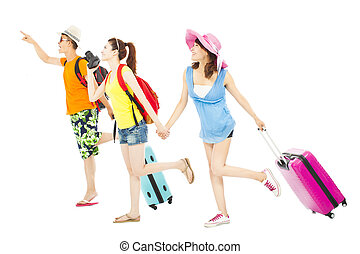 wereldwijde reis, jonge, samen, vrienden, vrolijke