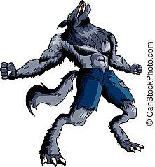 Werewolf - Cartoon illustration of a howling werewolf