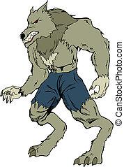 Werewolf - Cartoon illustration of a werewolf