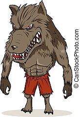 Cartoon illustration of a werewolf
