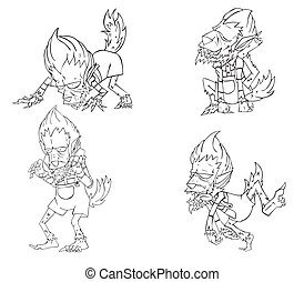 Werewolf Character vector. Monster in Halloween night