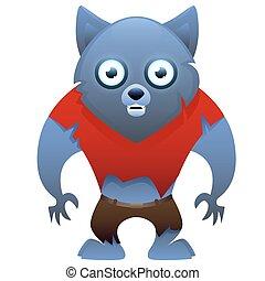 Werewolf cute cartoon character