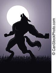 Werewolf - Stock vector of a werewolf at a full moon