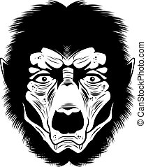 A black and white illustration of a werewolf face.