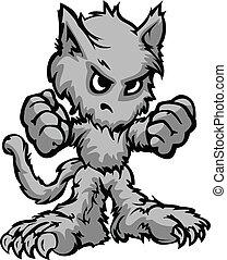 werewolf, halloween, monster, spotprent, vector, illustratie