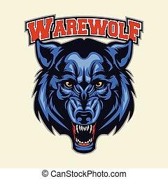 Werewolf Head Mascot - Multi Colors Illustration Of Werewolf...