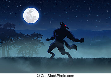 Illustration of a werewolf during the full moon