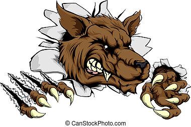 A tough wolf animal sports mascot breaking through a wall
