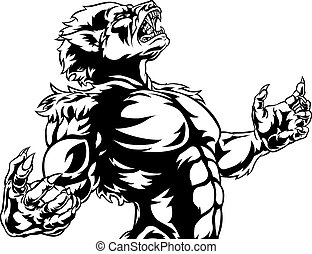 Scary werewolf wolf man horror monster with head in the air howling as it transforms
