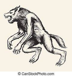 Sketch illustration of a werewolf