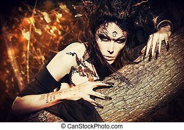 werewolf - Close-up portrait of a fantasy man in a wild...
