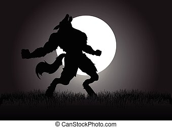 Stock vector of a werewolf howling in the night during full moon