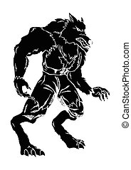 Werewolf - A werewolf in carved style illustration