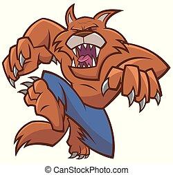 Vector illustration of Halloween werewolf cartoon