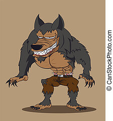 werewolf., vektor, karikatur