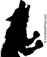 A werewolf or wolfman Halloween monster in silhouette