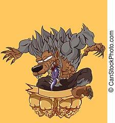 Werewovlf. monster in Halloween