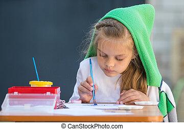 werf, zittende , verven, watercolor, losgemaakte, tafel, meisje, een beetje