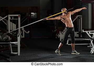 werfen, bodybuilder, muskulös, speerwerfen, seitenansicht
