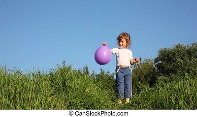werfen, m�dchen, auf, balloon